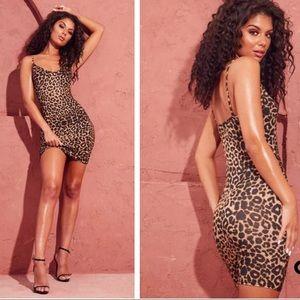 Leopard Print Strappy Plunge Bodycon Dress